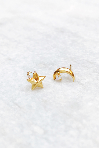 Vintage Gold Star & Moon Studs