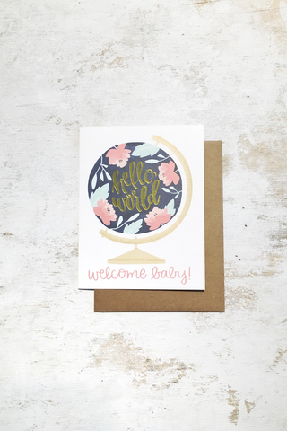 Welcome Baby Globe Card