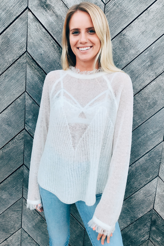 Sheer Detailed Knit Sweater