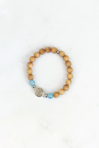 SH Cypress and Aquamarine Beaded Bracelet with Lavallette Sand