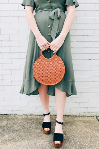 Circle Tote With Woven Detail