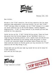 "FAIRTEX ""F-DAY"" MUAY THAI STYLE TRAINING GLOVES"