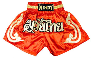 WINDY MUAY THAI KICKBOXING SHORTS - WMTS - RED/GOLD