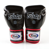FAIRTEX PRO SUPER SPARRING BOXING GLOVES - 3TONE - BLACK/WHITE/RED COLOR