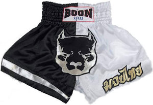 "BOONSPORT ""B&W Pitbull"" MUAY THAI KICK BOXING SHORTS"