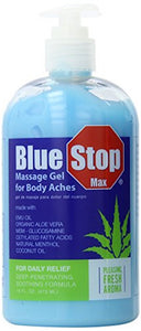 Blue Stop Max Massage Gel 16oz (473mL) - Pain Relief Gel for Muscle & Joint Pain
