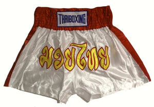 "MUAY KICKBOXING ""THAI BOXING"" SHORTS -  TBS-WHITE/RED"