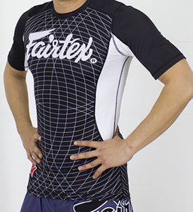 FAIRTEX NEW SHORTSLEEVE RASHGUARD - RG5 - BLACK/WHITE