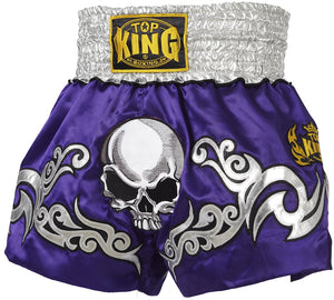TOP KING MUAY THAI KICKBOXING SHORTS -TKTBS-046 - Purple Death Skull