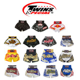 Twins Special Muay Thai Shorts - Black with Red Waist - TWST22