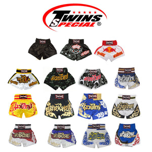 Twins Special Muay Thai Kickboxing Shorts - TWS-857 - White & Gold