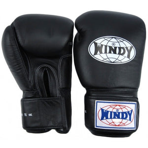 Windy Muay Thai Leather Training Gloves - BGVF -BLACK