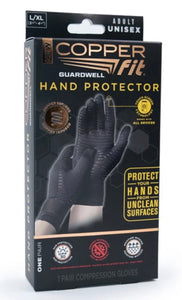 Copper Fit Guardwell Hand Protector Gloves - Black - One Pair