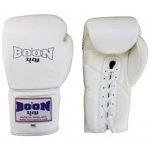 BOON SPORT THAI STYLE LACE TRAINING GLOVES - BLACK,RED,BLUE,WHITE,PINK, BROWN