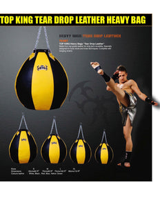 "TOP KING HEAVY BAG ""TEAR DROP LEATHER"" -TKHBT-GL - BLACK/YELLOW (UNFILLED)"