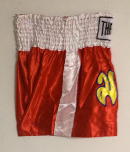 "MUAY KICKBOXING ""THAI BOXING"" SHORTS TBS-RED w/ WHITE STRIPES"