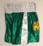 "MUAY ""THAI BOXING"" Brand Shorts - Green & White Color"
