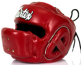 Fairtex Full Face Headgear - Wide Vision - Microfiber Material - HG14- RED