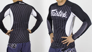 FAIRTEX NEW LONGSLEEVE RASHGUARD - RG4 - BLACK/WHITE