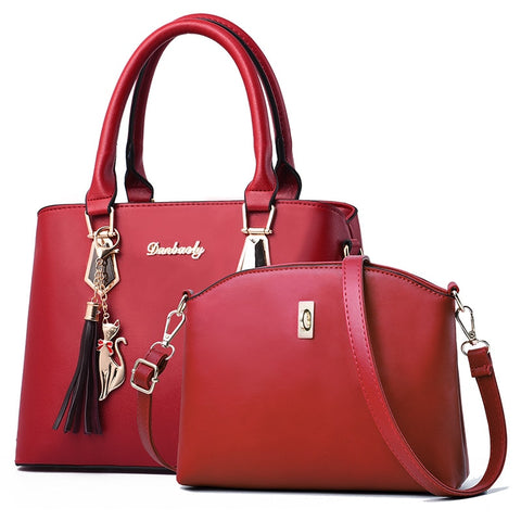 2 PCS Handbag Set Women PU Leather Shoulder Bag