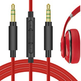 Geekria QuickFit Replacement Audio Cable for Beats Studio3, Studio2, Studio, Solo3, Solo2, Solo HD, Beats x MCM, Executive Headphones - 3.5mm Stereo Cord with Microphone and Volume Control (Red 5.6FT)