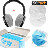 Geekria Audiophile's 2020 Travel Kit, Disposable Headphones Earpads Cover + Face Mask, Includes 50 Pairs Stretchable Sanitary Ear Covers and 50 Protective 3-Layer Face Masks