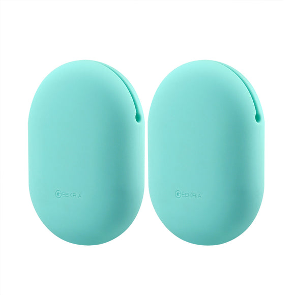 Geekria Earbuds Silicone Case for Beats Powerbeats, Sony XB80BS, MDR-J10, Phaiser BHS-730, BHS-530, Earbud Protection Squeeze Pouch / Pocket Soft Earphone Storage Bag (Mint green, Size M, 2 Packs)