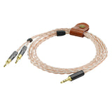 Geekria Apollo 4N OCC + Single-Crystal Silver Upgrade Cable for Sennheiser HD700 Headphones / Replacement Cord / 16 Cores Mixed Circular Knitting Audio Cable (4 Cores 3.5mm audio jack 4.25FT)