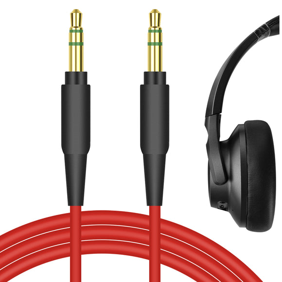 Geekria QuickFit Audio Cable Compatible with Mpow 059, H17 ANC, H16 ANC, Anker Soundcore Life Q20, Life Q10, Vortex, Bluedio T3, T2s Headphones Cable, 3.5mm AUX Replacement Stereo Cord (Red 5.6FT)