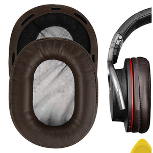 Geekria QuickFit Protein Leather Ear Pads for Sony MDR-1R, MDR-1RMK2 Headphones, Replacement Ear Cushion / Ear Cups / Ear Cover, Headset Earpads Repair Parts (Brown)