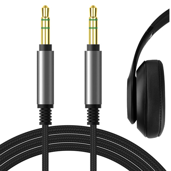Geekria Apollo Upgrade Audio Cable for Beats Studio 3, Studio 2, Studio, Solo 3, Solo 2, Solo HD, Executive, Mixr Pro Headphones Cable, 3.5mm AUX Replacement Stereo Cord (Black 5.6FT)