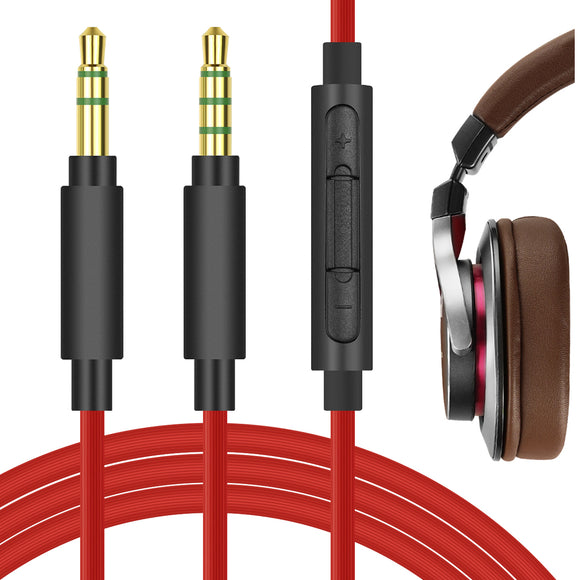 Geekria QuickFit Cable with Mic for ATH-MSR7 ATH-SR5 ATH-AR3BT, Pioneer SE-MS7BT Headphones Cable, 3.5mm AUX Replacement Stereo Cord with Inline Microphone and Volume Control (Red 5.6FT)