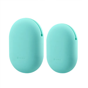 Geekria Earbuds Silicone Case for Sony XB80BS, XB50, EX100AP, Phaiser BHS-730, Jabra Sport Pace, Earbud Protection Squeeze Pouch / Pocket Soft Earphone Storage Bag (Mint green, M+S, 2Packs)