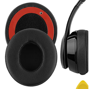 Geekria QuickFit Protein Leather Ear Pads for Beats Solo2, Solo 2.0 Wired Headphones, Replacement Ear Cushion / Ear Cups / Ear Cover, Headset Earpads Repair Parts (Black)