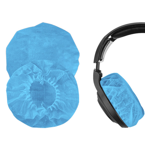 Geekria 100 Pairs Large Stretchable Headphone Earpad Covers / Disposable Sanitary Earcup Fit AKG K701, Q701, Sennheiser HD900, HD800, Razer Kraken X, 7.1 Chroma V2, Pro V2 Over-Ear Headphones (Blue)