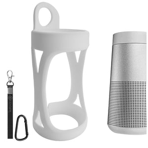 Geekria Silicone Case for Bose SoundLink Revolve Waterproof Portable Wireless Bluetooth Speaker, Bose SoundLink Revolve Silicone Case Cover with Keychain, Protective Case (White)