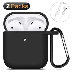 Geekria Silicone Skin Cover Compatible with AirPods 2 & 1 Charging Case - Protective Silicone Case Cover with Keychain, Front LED Visible