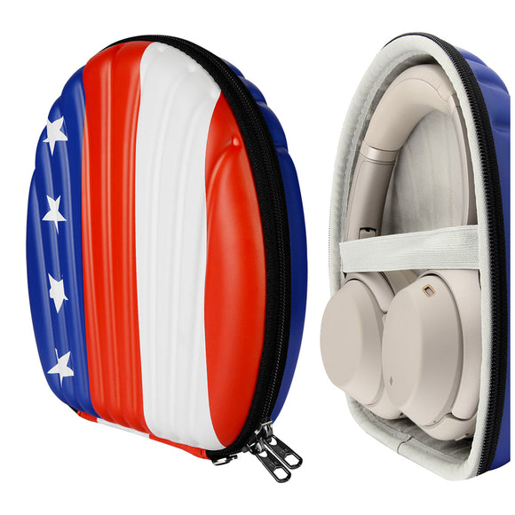 Geekria SeaShell Headphone Case for Sony WH1000XM3, WH1000XM2, WH-CH700N, MDR-M1ST, 1RNCMK2, MDR1A, WH-XB900N Headphones, Protective Hard Shell Travel Carrying Bag with Room for Accessories (US Flag)