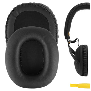 Geekria QuickFit Protein Leather Ear Pads for Marshall Monitor Headphones Replacement Earpads / Ear Cushion / Ear Cups, Headset Ear Cover Repair Parts (Black )