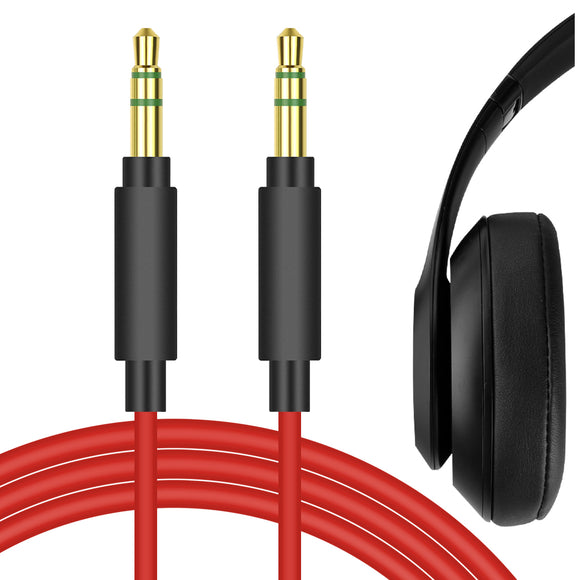 Geekria QuickFit Audio Cable for Beats Solo3, Solo2, Solo HD, Studio3, Studio, Studio2, Executive, Mixr Pro Headphones, 3.5mm Replacement Stereo Cord (Red 5.6FT)