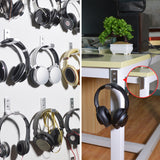 Foldable Wall Mount Headphones Holder, Headset Wall Hanger, Aluminum Wallmount Hook, Hold Up to 1kg with 3M Tape, 20kg with Screws, Stand Come with Headband Protective Pad ( Gold 2pcs )