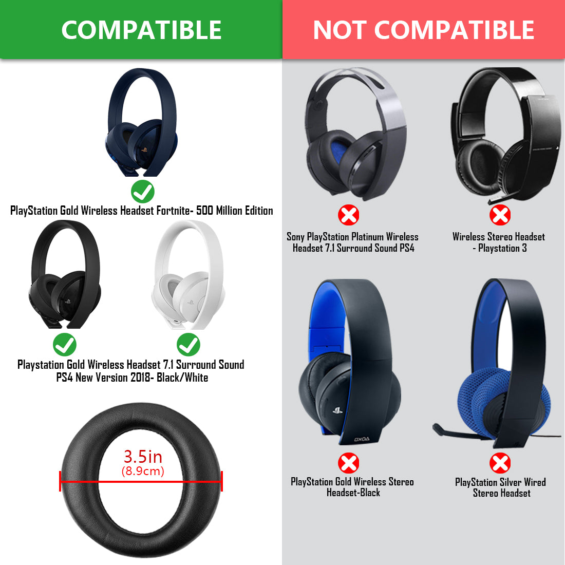 Geekria Earpad Replacement For Playstation Gold Wireless Headset New V