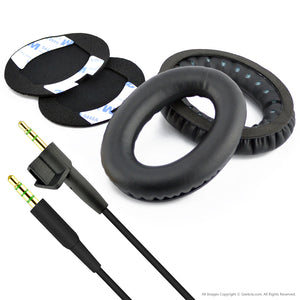 Geekria Replacement Earpad Ear Pad Cushions and Replacement Audio Cable (With Mic and Volume Control) for Bose AE2, AE2i, AE2w Headphone (Cable + Earpad)