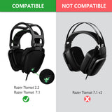 Geekria QuickFit Protein PU Ear Pads for Razer Tiamat 2.2, Razer Tiamat 7.1 Headphones, Replacement Ear Cushion / Ear Cups / Ear Cover / Earpads Repair Parts Not Fit Razer Tiamat 7.1 v2 (Black)