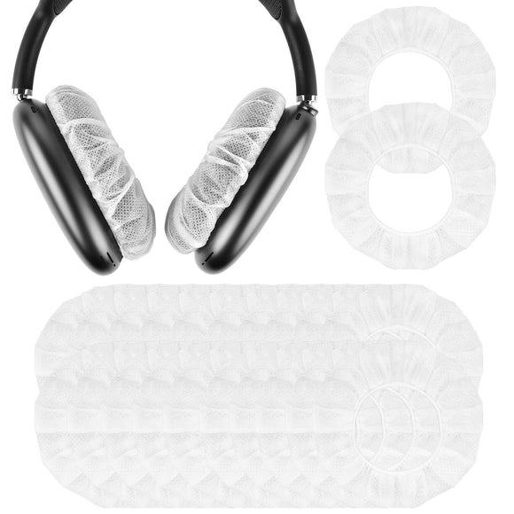 Geekria 100 Pairs Disposable Earpad Covers Compatible with AirPods Max, Earphone Covers / Headphone Covers / Stretchable Sanitary Earcup, Fits 3.14 - 4.33 Inches Headsets (White)