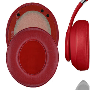 Geekria Elite Sheepskin Ear Pads for Beats Studio 3.0, Studio2 (2nd Gen Bluetooth) Wireless Headphones Replacement Earpads / Ear Cushion / Ear Cups, Headset Ear Cover Repair Parts (Red)