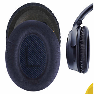 Geekria QuickFit Protein Leather Ear Pads for Bose QuietComfort 35 II, QC 35 (Series II), QC25, Around-Ear AE2 Headphones Replacement Earpads / Ear Cushion / Ear Cups / Ear Cover (Midnight Blue)