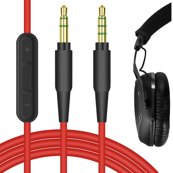 Geekria Replacement Audio Cord for V-MODA Crossfade M-100, M-80, LP2, LP, XS, V-80, TREBLAB Z2, BT5, Koss Pro4S Headphones - 3.5mm Stereo Cable with Microphone and Volume Control (Red 5.6FT)
