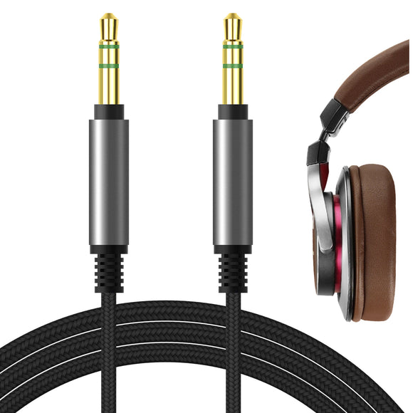 Geekria Apollo Upgrade Audio Cable for Pioneer SE-MS7BT, HDJ-X5BT, Hdj-700, ATH-SR5, ATH-MSR7, ATH-AR3BT, ATH-DWL770, ATH-WS660BT Headphones Cable, 3.5mm AUX Replacement Stereo Cord (Black 5.6FT)