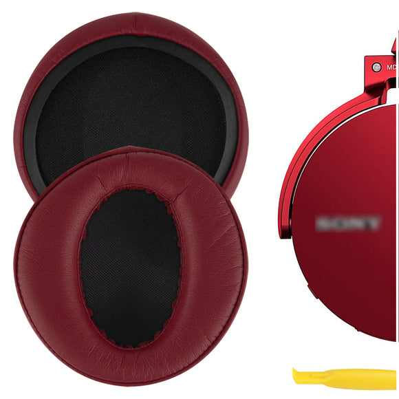 Geekria QuickFit Protein Leather Ear Pads for SONY MDR-XB950BT MDR-XB950B1 MDR-XB950/H Headphones, Replacement Ear Cushion / Ear Cups / Ear Cover, Headset Earpads Repair Parts (Dark Red)
